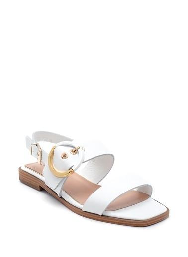 Derimod Kadın Deri Sandalet Beyaz